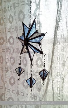 Pendant Of Stained Glass. 3D-Star. Light-blue, sky color. Suncatcher. Geometric.Handmade.Home decor.Room decor.DizArtEx.Made to order. ***MADE TO ORDER*** *The item will be ready in about 1-2 weeks after payment. Type: Stained Glass (pendant,suncatcher,decor); Motive: 3D-Star,ornament;
