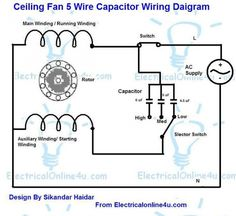 943945ab64304a1ec95ed77c1f7268db pin by cat6wiring on ceiling fan wiring diagram pinterest 5 wire ceiling fan capacitor wiring diagram at crackthecode.co