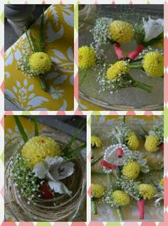 Corsages and Boutonnieres with Yellow Dahlia, White Alstroemeria, Grass, Baby's Breath and subtle touches of Coral.