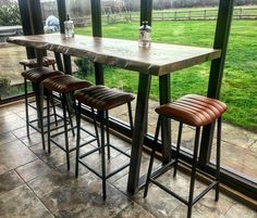 Breakfast Bar Table, Barn Renovation, Live Edge Wood, Wooden Tables, Rustic Wood, Wood Projects, Solid Wood, Dining Table, Furniture Ideas