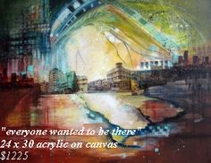 """Miami, South Beach """"everyone wanted to be there"""" painting by Carol Joy Shannon - photos of South Beach in the '70s, transferred into painting with a few of the """"dark edges"""" of modern life. SOLD"""