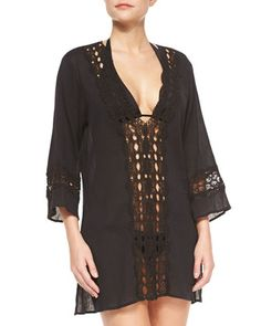 Intuition Crochet-Inset Tunic Coverup by La Blanca at Neiman Marcus.