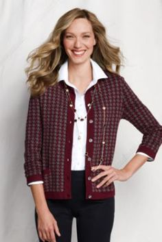 Women s+3 4-sleeve+Cotton+Blend+Houndstooth+Jacket+ a5c353d76