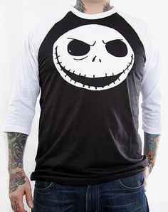 Click for Full Size Image of Nightmare Before Christmas, Baseball Jersey Shirt, Jack