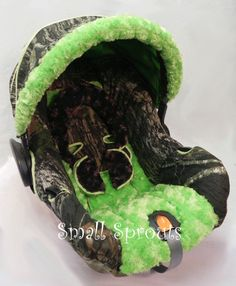 Custom Boutique Mossy Oak Camo Breakup with Lime Green Minky Infant Car Seat Cover 5 piece set. $139.00, via Etsy.