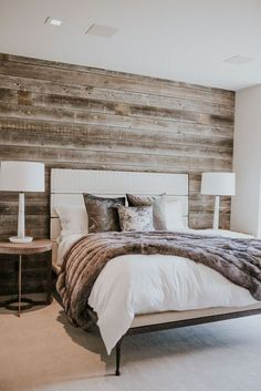 Residential and Commercial Interior Design Rustic Bedroom Design, Rustic Master Bedroom, Home Decor Bedroom, Accent Wall Bedroom, Wooden Accent Wall, Dream Rooms, My New Room, Home Remodeling, Interior Design