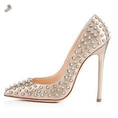 371bcdf21497 Onlymaker Women s Rivet Full Covered Pointed Toe High Heel Slip On Stiletto  Pumps Large Size Shoes