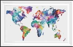 Watercolor World Counted Cross Stitch - Pixie Bob Frisuren Counted Cross Stitch Patterns, Cross Stitch Embroidery, Cross Stitches, New Nature Wallpaper, Hand Embroidery Projects, Cross Stitch Landscape, Rainbow Quilt, Character Wallpaper, All Nature
