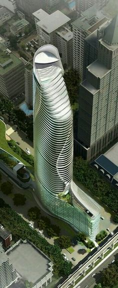 Skyscrapers, Future Architecture, Magnolias Ratchaprasong Tower, Bangkok by Gensler Architects :: 60 floors, height Architecture Design, Architecture Antique, Futuristic Architecture, Beautiful Architecture, Contemporary Architecture, Unusual Buildings, Amazing Buildings, Modern Buildings, Modern Skyscrapers
