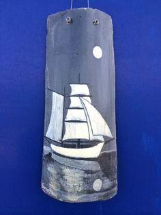 Hand geschilderd grijs varen schip op zee  oude van BatLab op Etsy