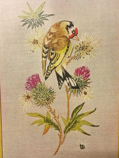 "Vintage Penelope Needlework KIT - Crewel Embroidery KIT unworked and sealed.  ""Goldfinch""   Panel size 20 x 38 cm by LousAtelier on Etsy"