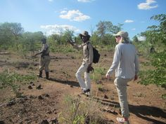 Rhino walk in Mosi oa Tunya Park in Zambia with Cassandra Rox