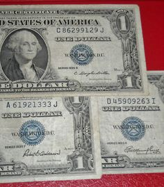 Lot of 3 1935 $1 Silver Certificates Series E , F and G $3.49