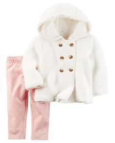 Baby Girl 2-Piece Sherpa-Lined Sweater & Legging Set from Carters.com. Shop clothing & accessories from a trusted name in kids, toddlers, and baby clothes.