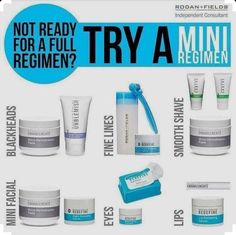 Are you not quite sure what products are right for your skin? Mini regimens are great for adding something new to your skincare routine. Small packages, can give you BIG results! :-) Message me if you have any questions!  https://ginamooney.myrandf.com/Shop