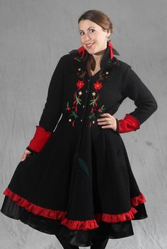 recycled sweater coat Christmas theme. Holiday coat with poinsetta applique and flare skirt. warm felted wool by AyalaOriginals on Etsy