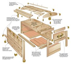Practical storage space combines with a stylish, custom design in this adaptation of a well-known classic traveling companion. Woodworking Tutorials, Woodworking Box, Woodworking Projects That Sell, Popular Woodworking, Woodworking Furniture, Woodworking Square, Woodworking Machinery, Repurposed Wood Projects, Diy Wood Projects