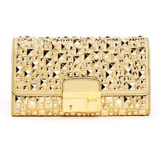 Michael Kors Gia Studded Metallic Leather Clutch Bag