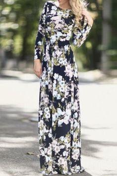 Full Floral Print Long Sleeves Maxi Dress