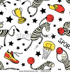 Basketball game seamless pattern with doodle cute zebra player. Background with sport attribute - cup, basket, shoe, stars, ball. Action poses. Vector illustration