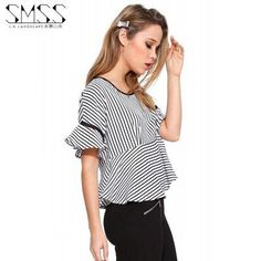 New Fashion Striped Shirt 2016 Summer Ruffles Butterfly Sleeve Short Loose Tops S-3XL Plus Size Cute Clothes Women Blouses