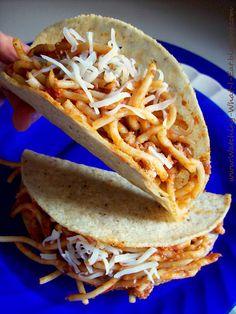 Watching What I Eat: Spaghetti Tacos & Spaghetti Nachos ~ iKidding around in the kitchen...