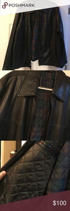 Tommy Hilfiger leather jacket Men Like new leather jacket!! Amazing jacket heavy and chic! Size XL Tommy Hilfiger Jackets & Coats