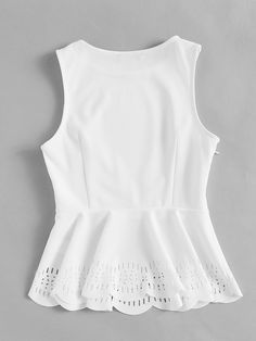 Laser Cut Scallop Hem Peplum Shell Top – I sell what I love Girls Fashion Clothes, Modest Fashion, Fashion Dresses, Cute Fall Outfits, Summer Outfits, Casual Outfits, Blouse Styles, Blouse Designs, Look Fashion