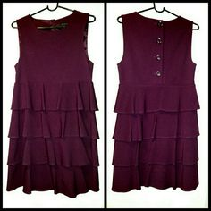 Plum Colored Tiered Dress By Theory Beautiful color, fun design, and very comfortable with stretch! Theory Dresses