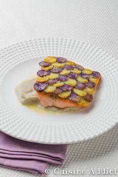 Truite en écaille de Vitelotte & Rattes, Purée de Topinambours - Cuisine Addict - Food & Travel