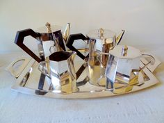 Art Deco coffee/tea set with rosewood handles.  It's a beauty!  Photo by Nancy Todd  $359
