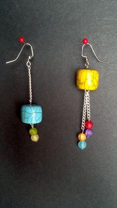 Rainbow Mismatch Earrings Diy Earrings Making, Funky Earrings, Simple Earrings, Simple Jewelry, How To Make Earrings, Beaded Earrings, Earrings Handmade, Beaded Jewelry, Jewelry Making