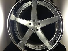 19 Inch 5 Spoke 3pc Wheels Brushed With Clear Center, Chromed Outer Lip!
