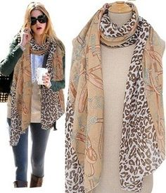 Morpheus Boutique  - Tan Leopard Animal Chain Pattern Chiffon Long Scarf