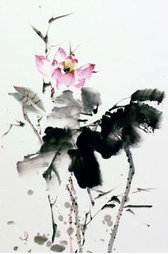 Lotus Fragrance #2 Sumi Chinese brush painting from US painter & instructor Sungsook Hong Setton