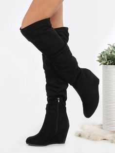Shop Faux Suede Slouchy Wedge Boots BLACK online. SheIn offers Faux Suede…