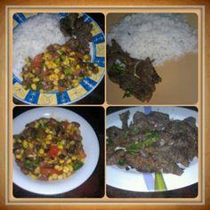 Ensalada de granos,churradco y arroz
