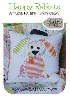 Happy Little Rabbits Applique Cushion PDF by claireturpindesign