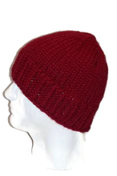 Warm Winter Beanie Hat Cranberry / Red Mens by lousknittingroom