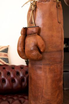 Old leather big punching bag / heavy bag / punch sack - Handmade in England  Color : light brown (the dark brown is available in my shop)  High grade,