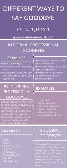 Learn how to end a conversation (or just say goodbye) more naturally in English. Get the full lesson at: http://www.speakconfidentenglish.com/goodbye-in-english/?utm_campaign=coschedule&utm_source=pinterest&utm_medium=Speak%20Confident%20English%20%7C%20English%20Fluency%20Trainer&utm_content=17%20Ways%20to%20Say%20Goodbye%20in%20English