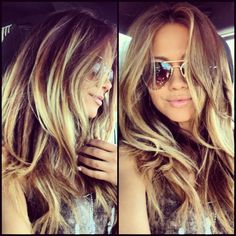long brown hair with blond highlights