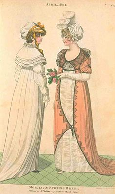 Fashions of London and Paris, April 1801. How awesome are these gowns? I LOVE the asymmetry of the gown on the right with that wide lace band, and y'all know I'm a sucker for capes like the gown on the left. And two bonus pieces of lovely headwear!