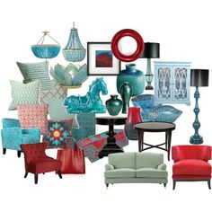 TURQUOISE, RED HOME DECOR, created by sdkalina on Polyvore