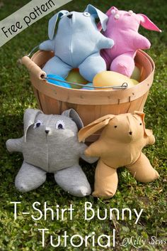 T-shirt bunny tutorial with free pattern  http://mellysews.com/2014/04/t-shirt-bunny-tutorial-free-pattern.html