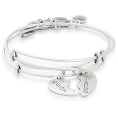 Alex and Ani Set of Two Best Friends Charm Energy Bangles ($48) ❤ liked on Polyvore featuring jewelry, bracelets, silver, alex and ani charms, expandable bangles, hinged bracelet, bracelets bangle and bangle charm bracelet