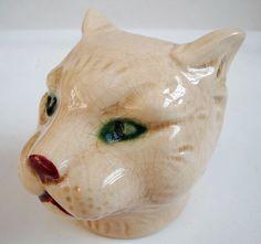 Piggy Bank Figurine Cat Wildlife Art Deco Style Art Nouveau Style Porcelain Enam