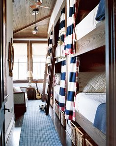 nautical built in bunk beds with curtains.  I would sleep in them.