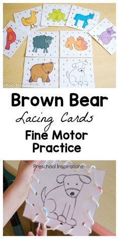 Practice important fine motor skills with these Brown Bear lacing cards that are perfect for preschool busy bags! Fine Motor Activities For Kids, Toddler Activities, Preschool Activities, Brown Bear Activities, Preschool Centers, Preschool Classroom, Brown Bear Book, Eric Carle, Lacing Cards