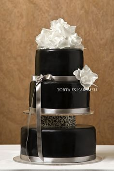 cake with caramel and black white as snow ...